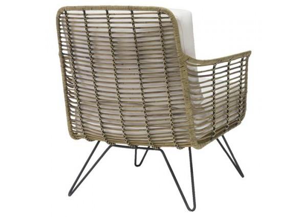 Pleasant Metal Frame Cushioned Seat Outdoor Lounge Chair Fashion Inzonedesignstudio Interior Chair Design Inzonedesignstudiocom